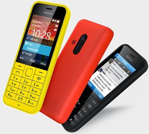 Gambar Nokia 220 warna kuning, merah dan hitam
