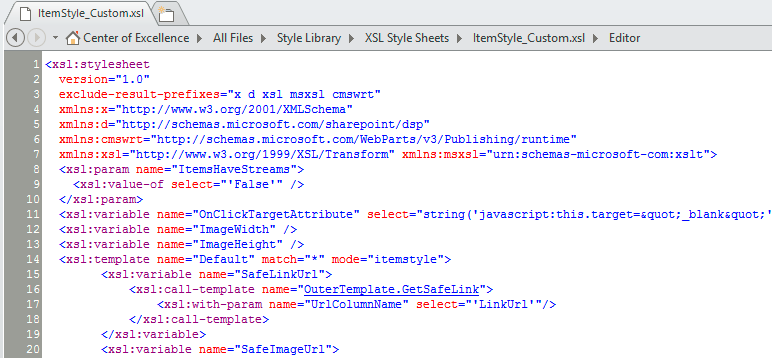 Image of SharePoint Designer 2013 in Code View using Courier New at 9pt