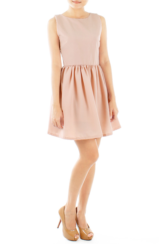 Dainty Ruched Flare Prom Dress in Innocent Pink
