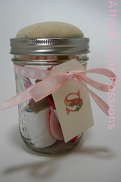 Mason Jar Sewing Kit inspired by Anthropologie Sewing Kit;