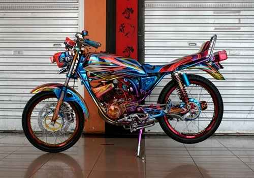 rainbow rx king supermoto rx king airbrush skull painting dan rx king