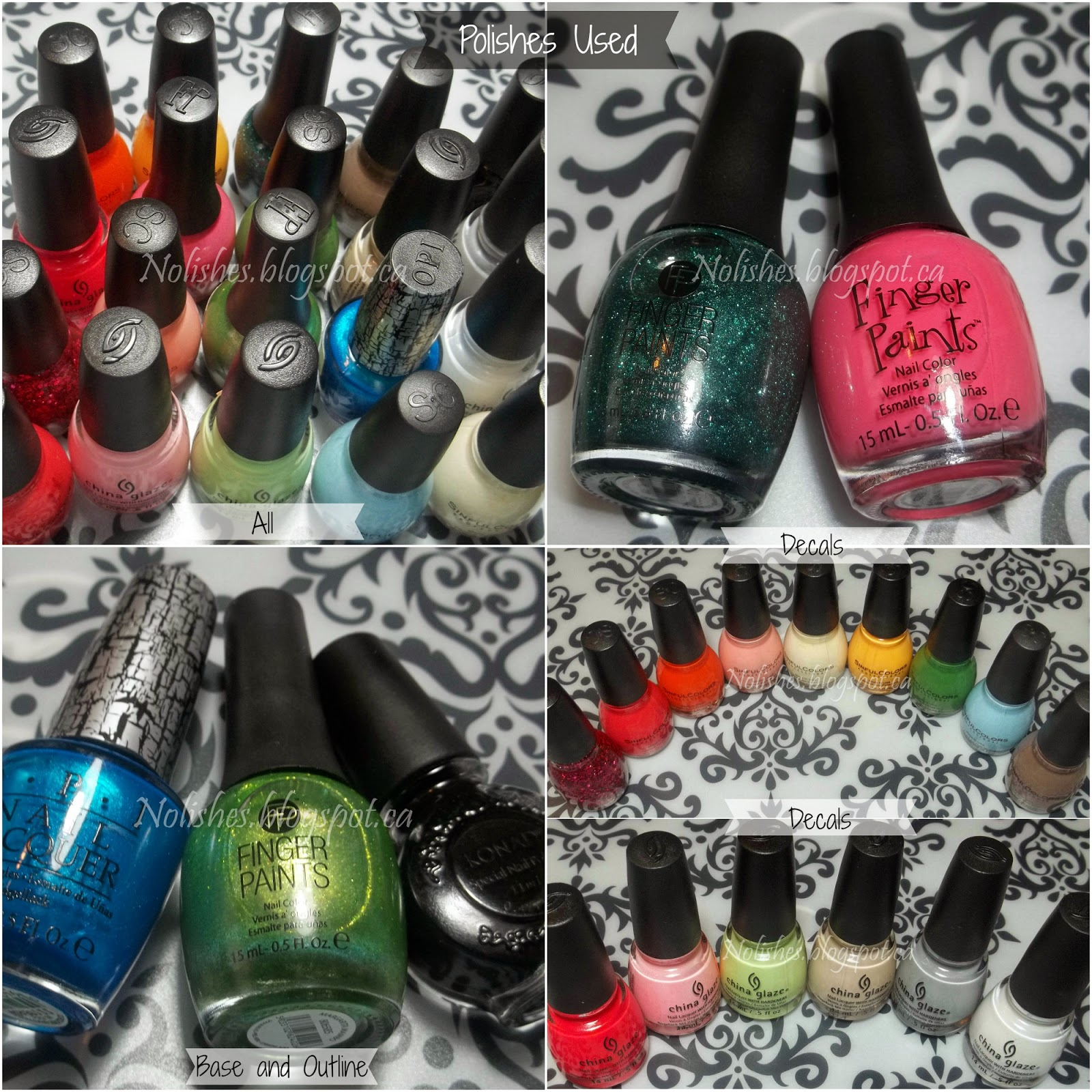 All 20 Polishes Used for the Crazy Decal Mani: Sinful Colors 'On the Bright Side', Sinful Colors 'Nirvana', Sinful Colors 'Daisy Daze', Sinful Colors 'Cream Soda', Sinful Colors 'Decadent', Sinful Colors 'Energetic Red', Sinful Colors 'Cinderella', Sinful Colors 'Citrine', Sinful Colors 'Exotic Green', China Glaze 'Feel the Breeze', China Glaze 'Be More Pacific', China Glaze 'White on White', China Glaze 'Pelican Gray', China Glaze 'Don't Honk Your Thorn', China Glaze 'Feel the Breeze', China Glaze 'Rose Among Thorns, Finger Paints 'Louvre This Pink', Finger Paints 'Art You Wondering', Finger Paints 'Margarita Mambo', and OPI 'Turquoise Shatter'
