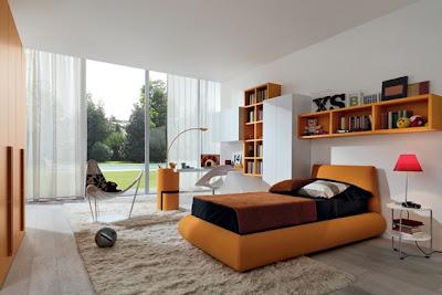 dormitorio adolescente naranja