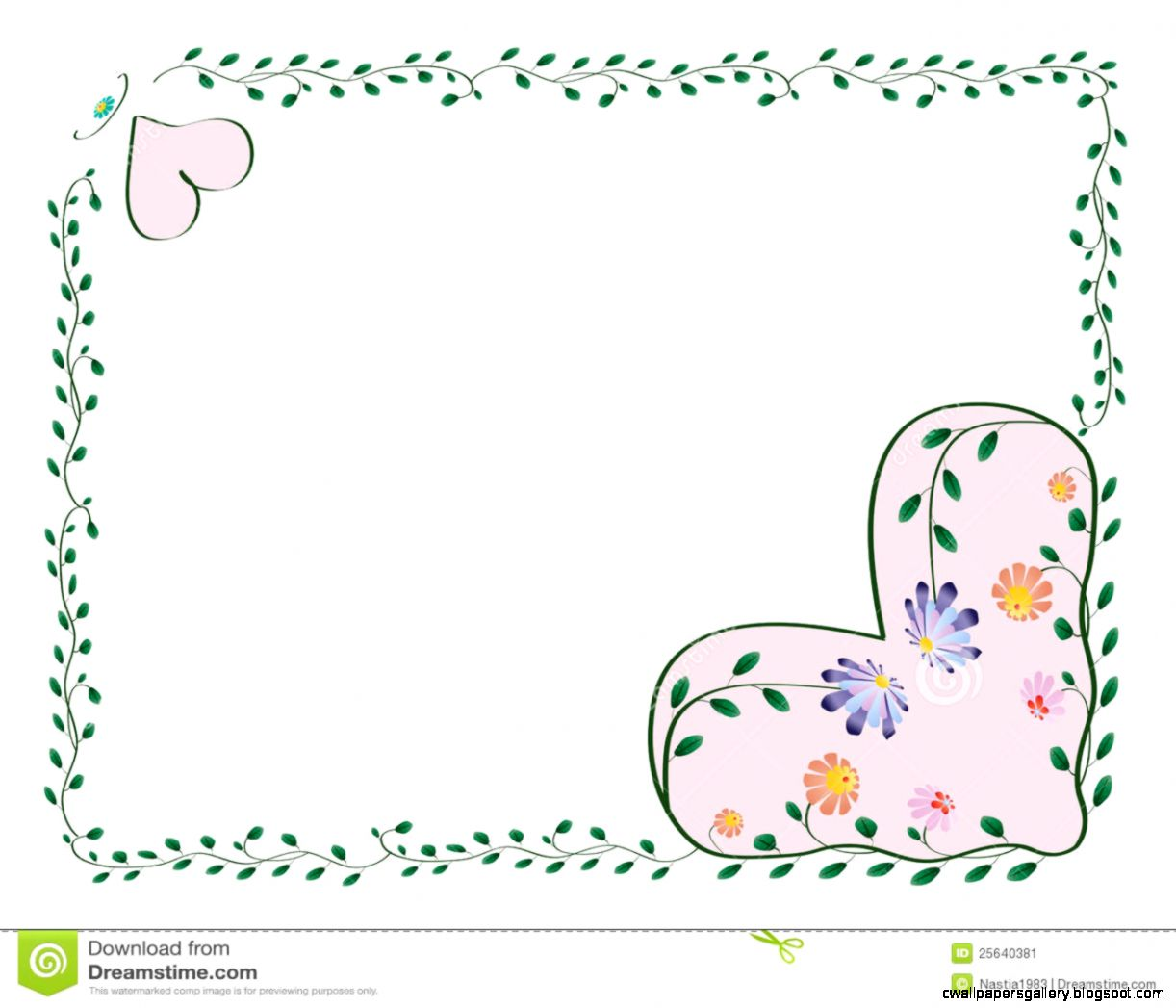 Frame With Hearts And Color Flowers Stock Image   Image 25640381