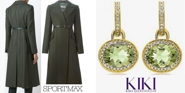 The Duchess Of Cambridge's SPORTMAX Long Belted Coat and KIKI McDONOUGH Earrings