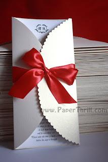 Gate fold scalloped edge wedding invitation