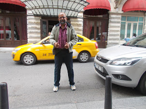 """In front of historic """"PERA PALACE"""" hotel in Istanbul."""