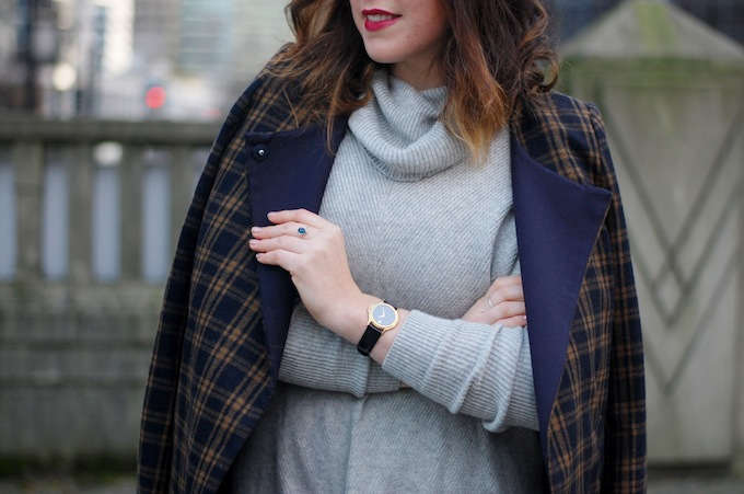 Vince sweater and plaid coat