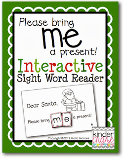 "Christmas themed emergent reader for sight word ""me"""