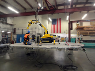 Suspended work platform with demolition robot