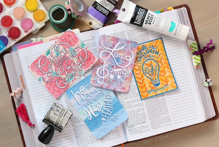Free Bible Verse Journaling Cards--These hand-lettered cards with hand-painted watercolor backgrounds are perfect for Bible journaling! www.pitterandglink.com