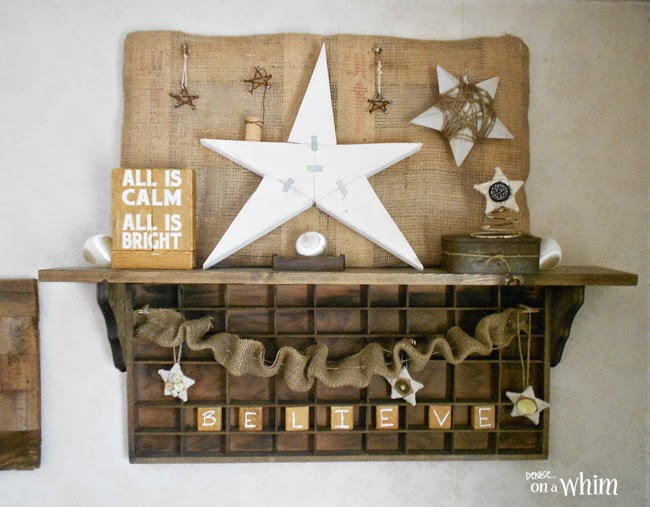 Star Themed Rustic Shelf Decorated for Christmas from Denise on a Whim