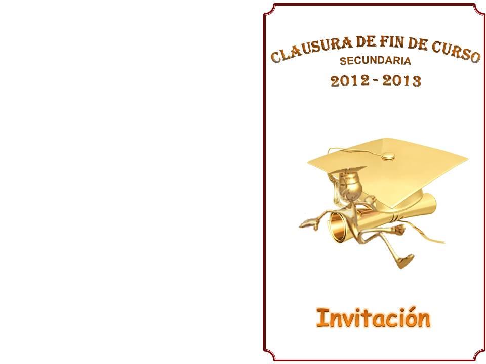 Invitación y foto grupal de Clausura de Fin de Curso para