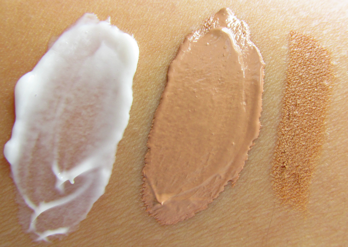 Swatches Zuii Organic: Flora Foundation Primer Clear 100 - 30ml - 28.95 Euro Flora Liquid Foundation in Natural Medium 102 - 30ml - 38.05 Euro Flora Concealer Pencil in Latte 1.8g - 16.50 Euro