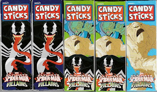 Front view of Ultimate Spider-Man Villains Candy Sticks boxes set one