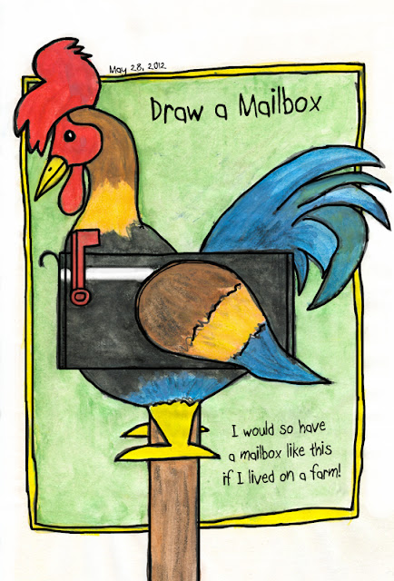 Rooster mailbox drawing by © Ana Tirolese