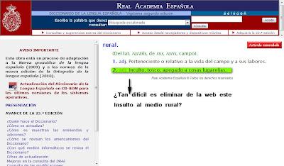Rural en el diccionario de la RAE