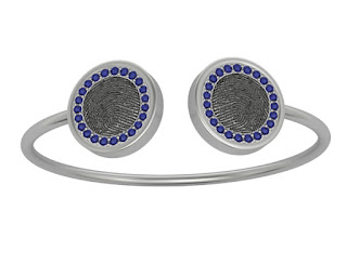 Bangle Bracelet with Fingerprints and Sapphire Bezel
