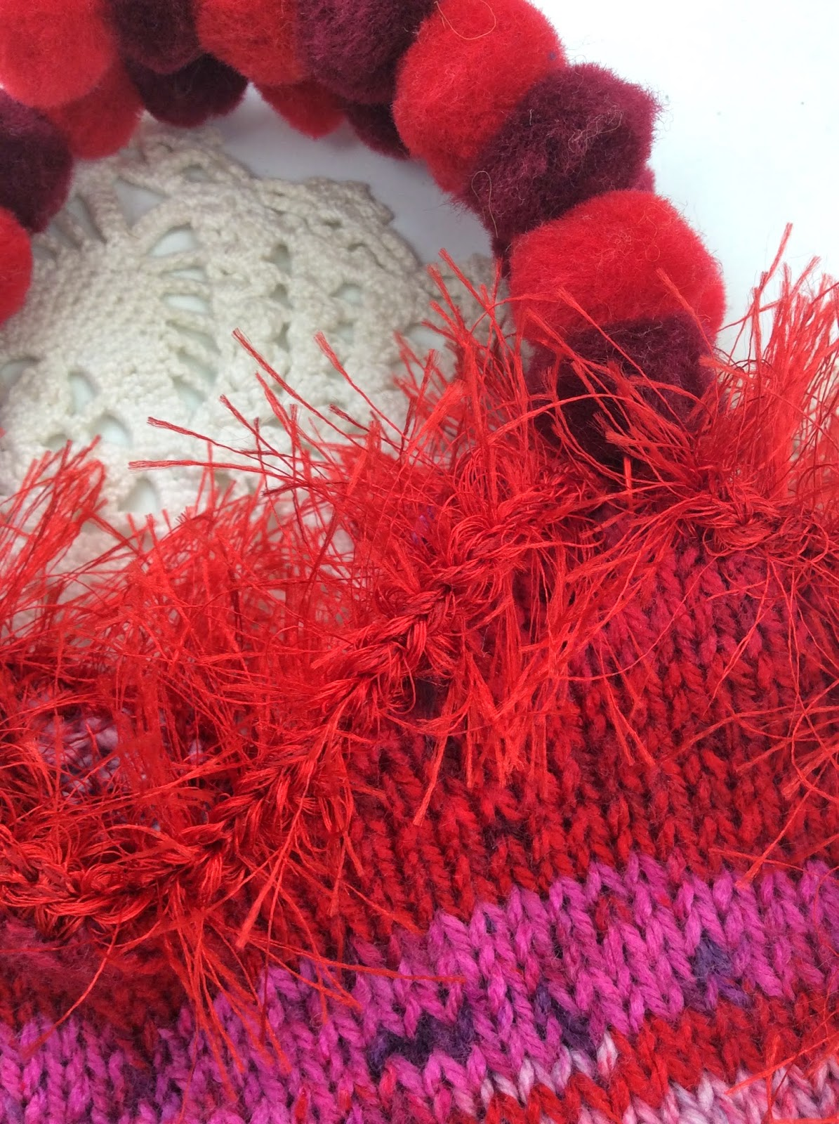 heart knit purse pompom handle eyelash yarn Valentine's day, stefanie Girard