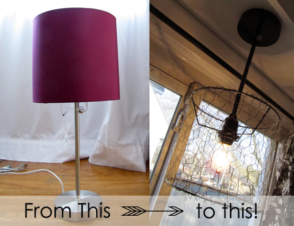 Imprintalish diy chicken wire pendant light my brain started spinning and after some brainstorming in the lighting aisle with my kids and hubsayson picked out this lovely burgundy lamp aloadofball