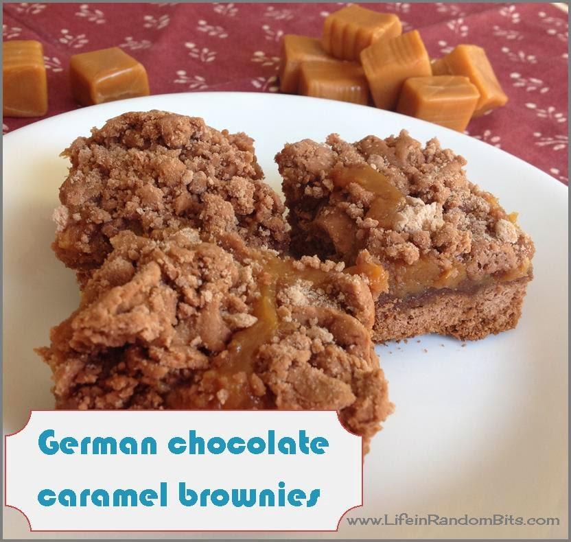 German chocolate caramel brownies - www.lifeinrandombits.com