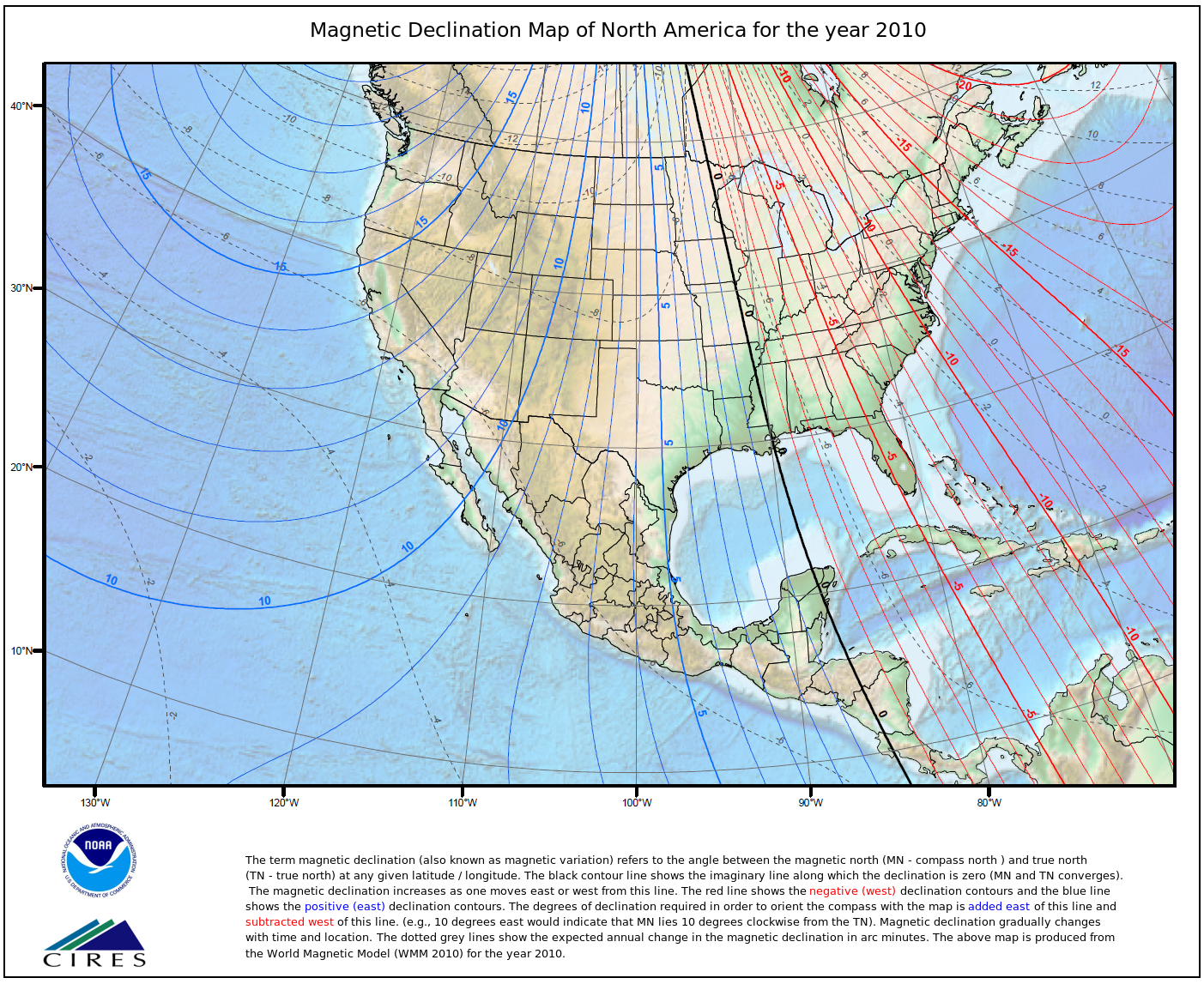 magnetic declination variation map for north america from 2010 by noaa click to enlarge