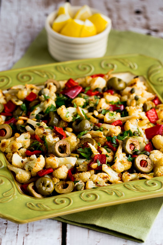 Roasted Christmas Cauliflower with Red Bell Pepper, Green Olives, and ...