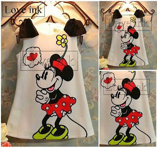 Dress Kids Minnie Black Ribbon - Baju Anak Love Ink - Harga Saudara