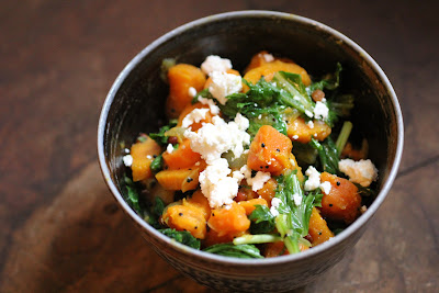 sweet potato, feta & mizuna greens palya (South Indian stir fry)