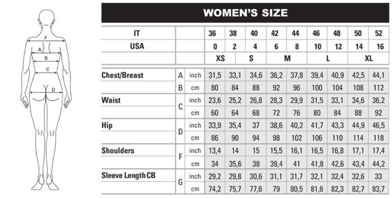 Women jacket sizes