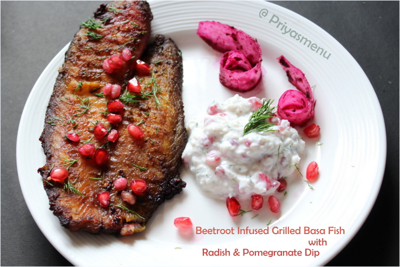 Priyas menu yum yum yummy food for food lovers beetroot beetroot infused grilled basa fish and radish pomegranate dip diet friendly recipes 14 100dietrecipes forumfinder Choice Image
