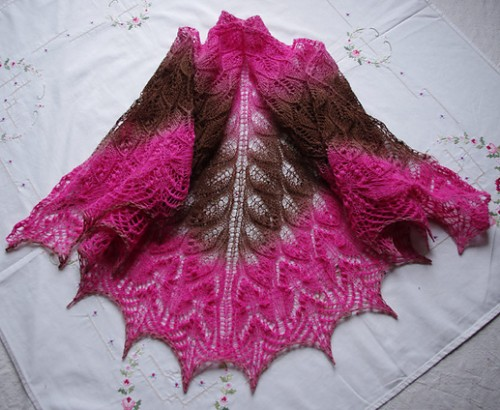 Knitting Gate Knitting Wavy Leaves And Butterflies Shawl