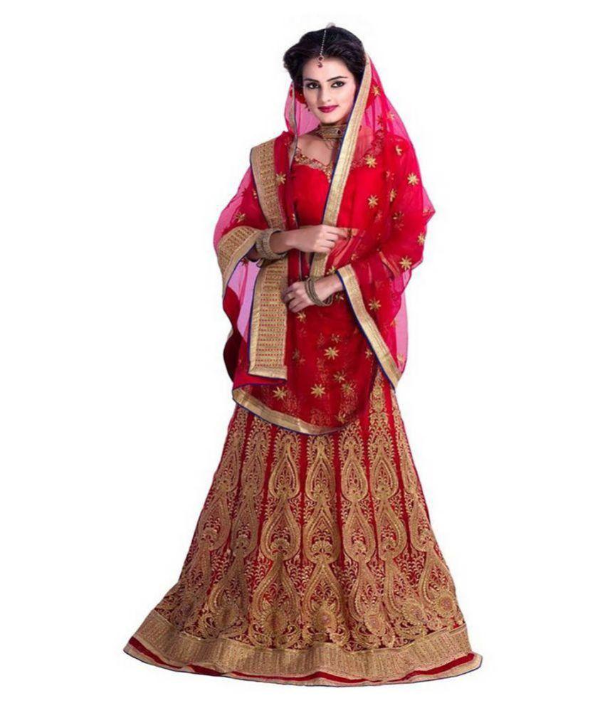 Siddeshwary Fab Red Net Circular Semi Stitched Lehenga!