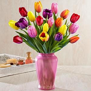 20 Assorted Tulips for mom with pink vase