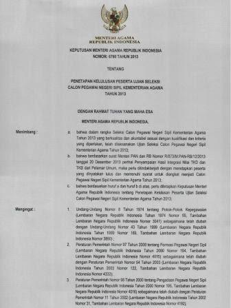 Pengumuman Kelulusan Test CPNS K2 Kemenag Kementerian Agama Tahun 2013 dari Pelamar Umum (2)