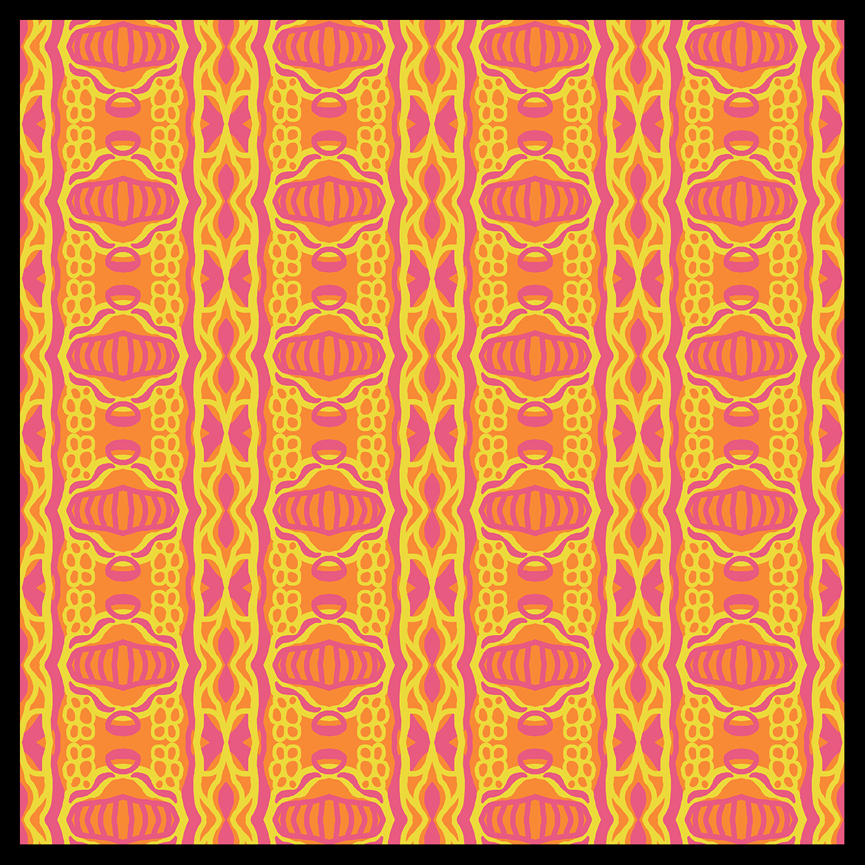 "Geometric seamless tiling abstract digital artwork by Renee Dillon. Colours are pink, yellow and orange. Named ""Jasper""."