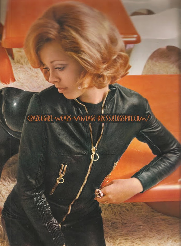 Red hair , leather catsuit - 1971 70s 1970 jumpsuit