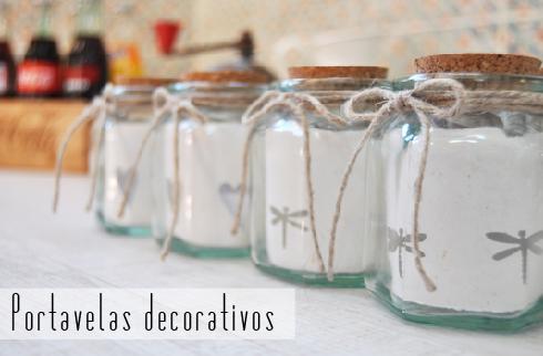 portavelas decorativos cuerda de sisal