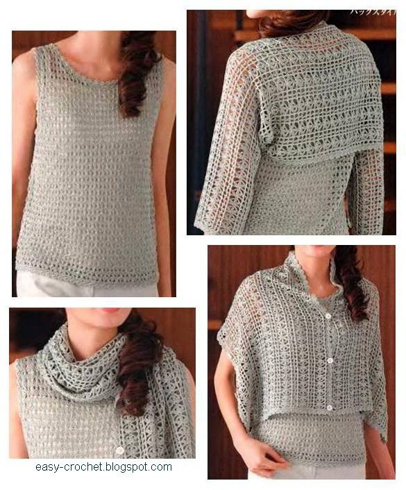 Stylish Easy Crochet: Ladies Crochet Shrug - free pattern