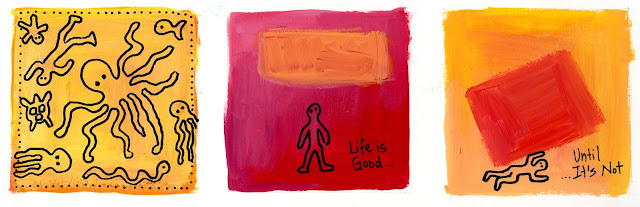 "Colorful art squares with caption ""life is good...until it's not"""