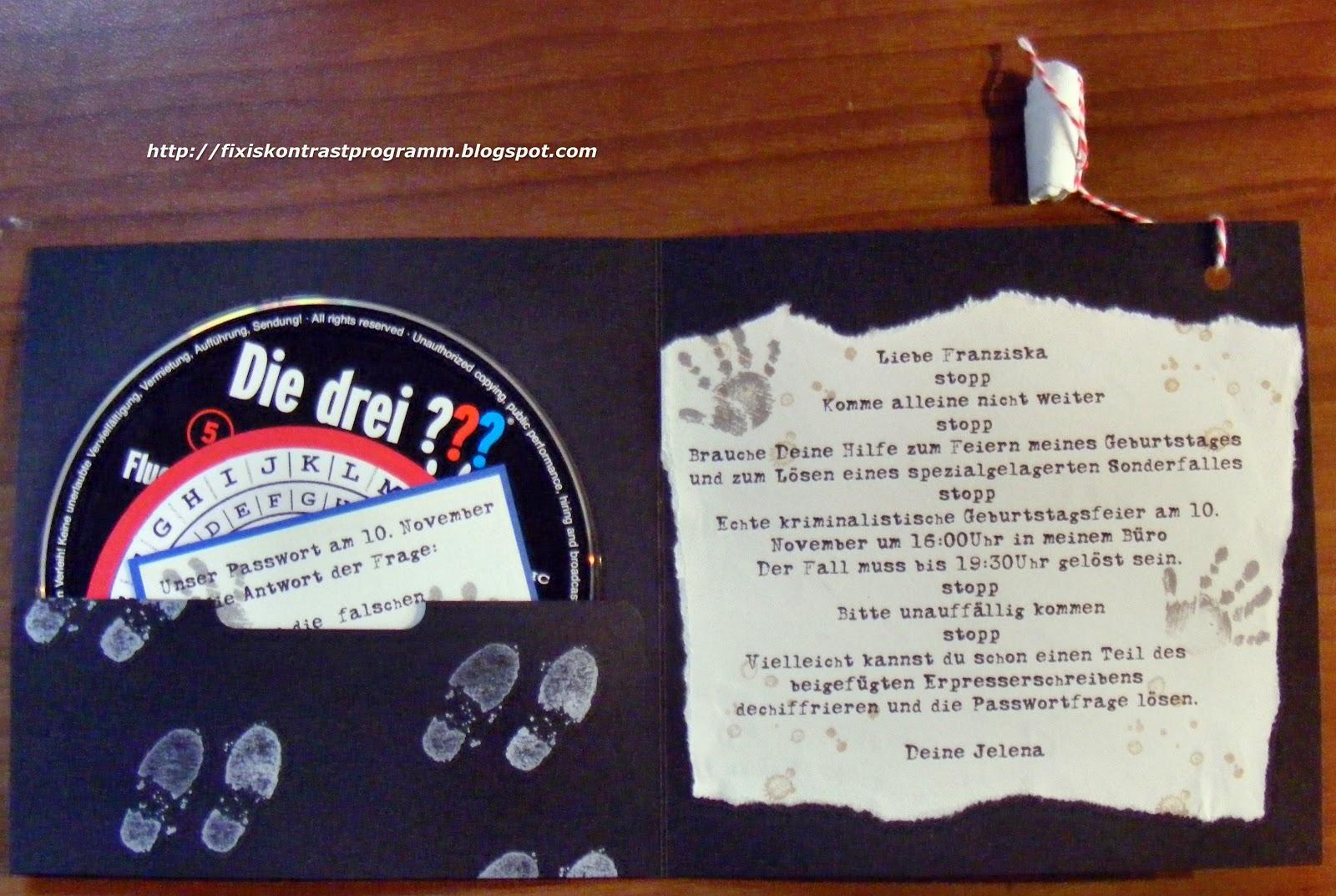Schön Kontrastprogramm: Die Drei Fragezeichen  Eine Party, Einladung