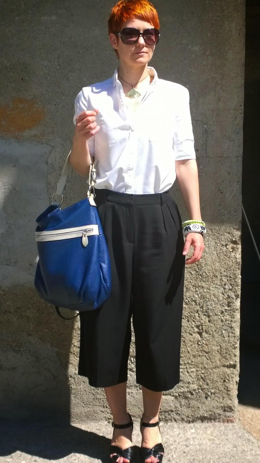 Mango shirt and pants, evil blue bag