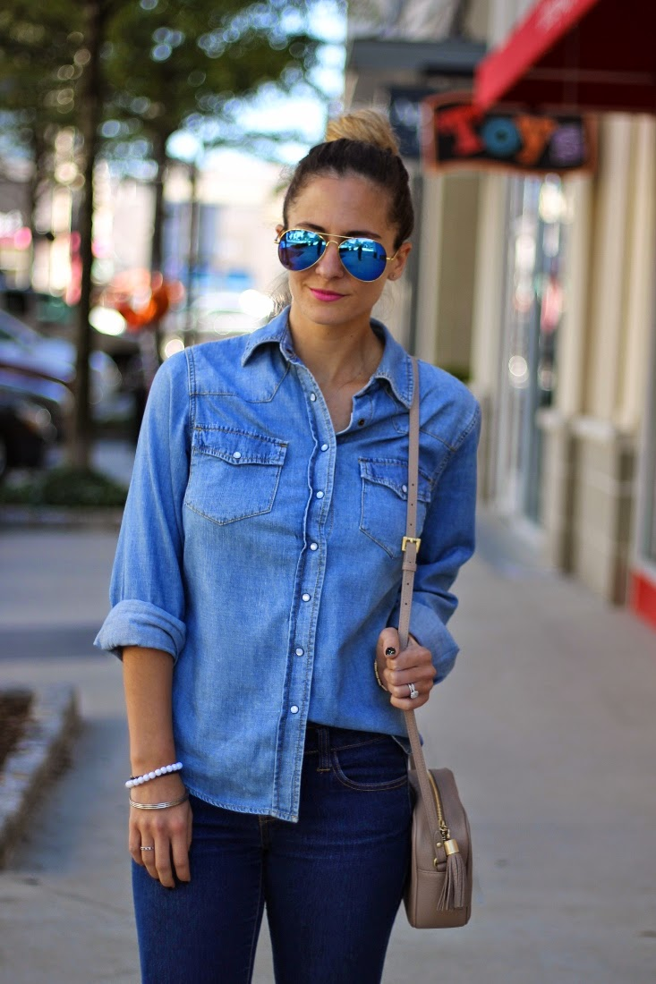 Chambray Button Up with Mirror Aviators