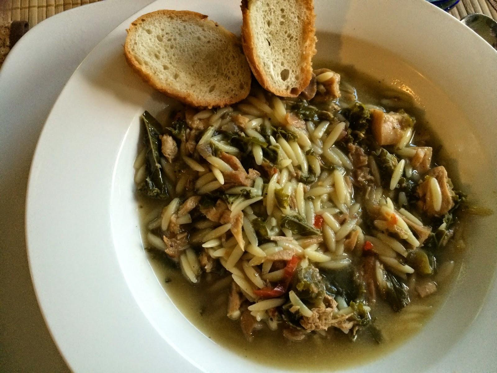 garden kale goes into summer soup pot — kale, chicken & orzo soup