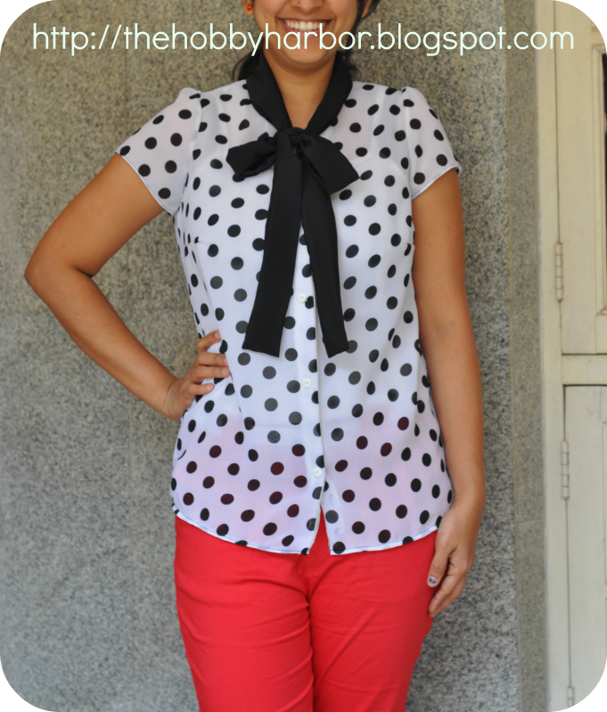 Blouse made form ottobre magazine with polka dot and bow tie