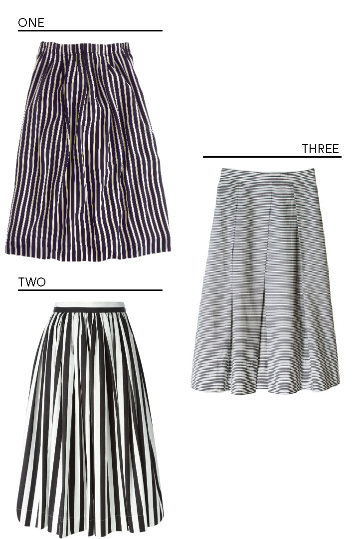elements of style striped midi skirt