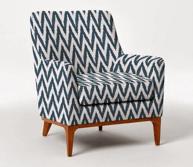 Upholstered blue and white ikat chevron chair