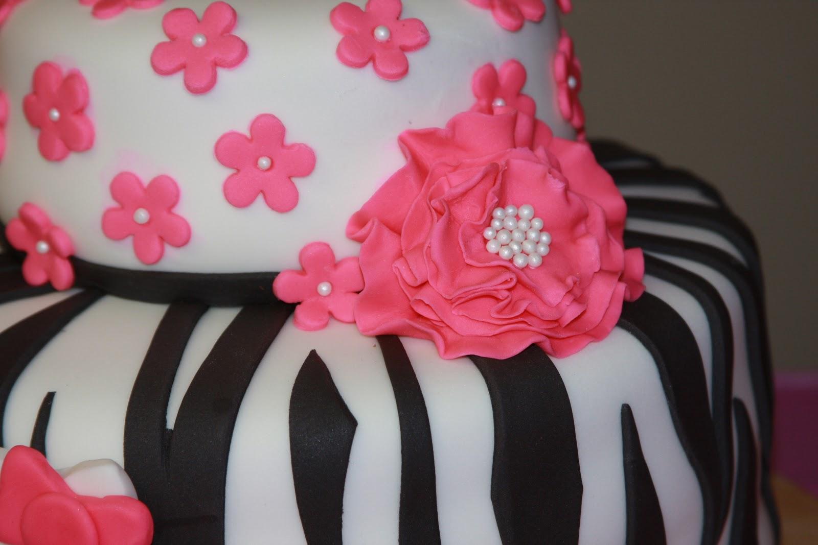 "Heathers Sweet Cakes: ""Hello Kitty"" with Zebra Print"