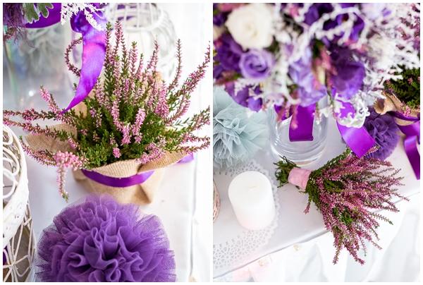 Aranżacja stołów weselnych z wrzosami