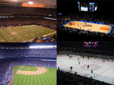 Football, Baseball, Basketball and Ice Hockey Arenas